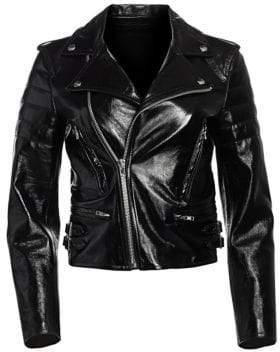 Helmut Lang Glossy Leather Cropped Biker Jacket