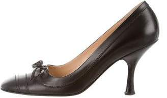 Chanel Square-Toe Leather Pumps