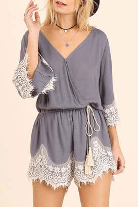 Umgee USA Lace Detailed Romper