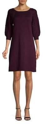 Eliza J Knit Raglan Puff-Sleeve Sweater Dress