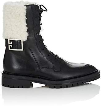 Givenchy Women's Shearling-Trimmed Leather Combat Boots - Black