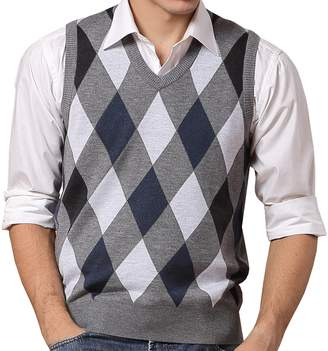 d07aceef52aee WEILAI Men Winter Classic Argyle Pattern V-Neck Business Casual Wool Vest  Knitwear Knitted Sweater