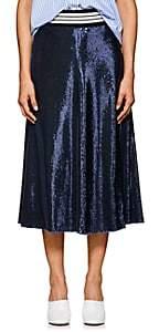 Robert Rodriguez Women's Striped-Waist Sequin Midi-Skirt-Navy
