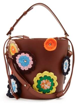 Jw Anderson - Bucket Crochet Appliqué Leather And Canvas Tote - Womens - Tan Multi