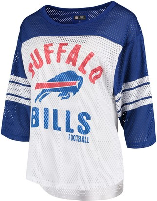 Buffalo David Bitton G Iii Women's G-III 4Her by Carl Banks White/Royal Bills First Team Three-Quarter Sleeve Mesh T-Shirt