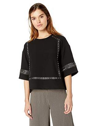 BCBGMAXAZRIA Women's Faux Leather-Trimmed Studded Blouse