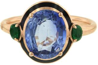Selim Mouzannar Blue Sapphire and Emerald Ring - Rose Gold