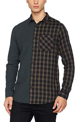 New Look Men's Bottle Green Half Check Regular Fit Long Sleeve Casual Shirt