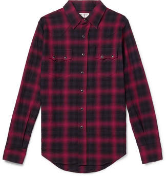 Saint Laurent Checked Cotton-Blend Flannel Shirt
