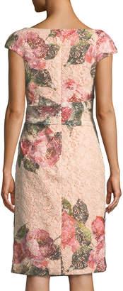 Monique Lhuillier Cap-Sleeve Floral-Print Lace Cocktail Sheath Dress