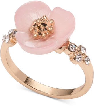 lonna & lilly Gold-Tone Crystal & Imitation Mother-of-Pearl Flower Ring