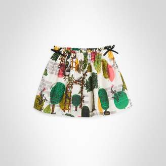 Burberry Childrens Tree Print Cotton Silk Skirt