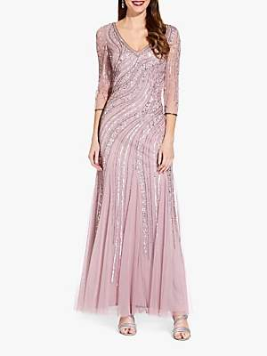 Adrianna Papell Long Beaded Dress, Dusted Petal