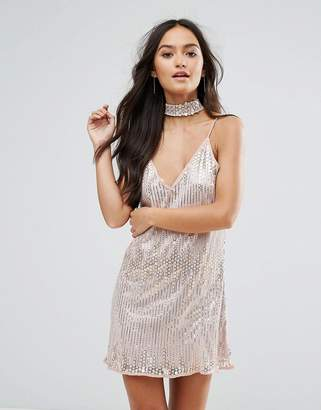 Love & Other Things Embellished Cami Dress With Choker Neck Detail