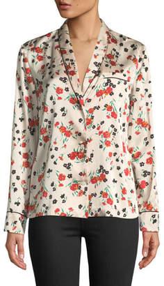 A.L.C. Leomie Floral-Print Silk Button-Front Top