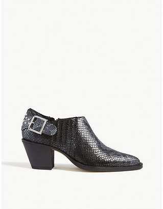 bac384b249 The Kooples Buckled croc-embossed leather ankle boots
