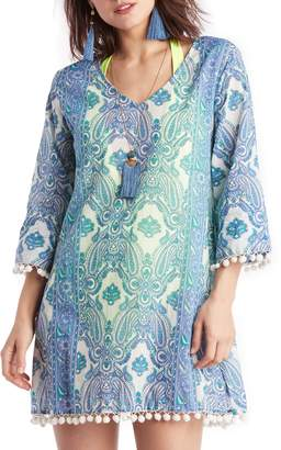Sole Society Paisley Pompom Cover-Up Tunic
