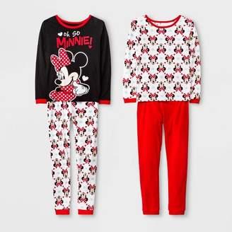 Mickey Mouse & Friends Girls' Minnie Mouse 4pc Pajama Set - Black