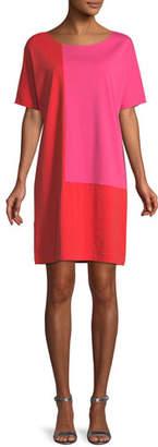 Joan Vass Short-Sleeve Colorblock Dress, Plus Size