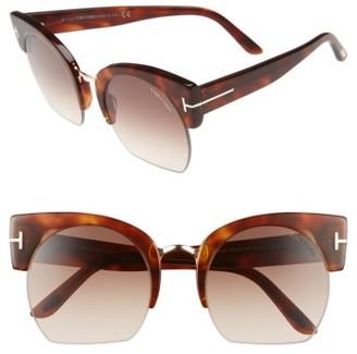 Women's Tom Ford Savannah 55Mm Cat Eye Sunglasses - Blonde Havana/ Gradient Brown $445 thestylecure.com