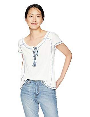 0ad9ae646cabd Max Studio Women s Knit Gauze Short Sleeve Top with Embordered Detail