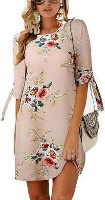 Efanr Women's Dresses Tie Sleeve Floral Print Swing Fit Chiffon Crew Neck T-Shirt