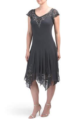 Beaded Asymmetrical Hem Dress