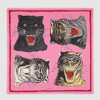 Gucci Tiger Face print silk scarf