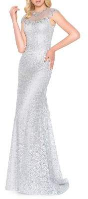Mac Duggal Beaded Illusion Fit-&-Flare Gown