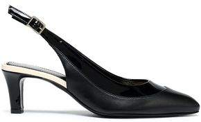 Lanvin Smooth And Patent-Leather Slingback Pumps