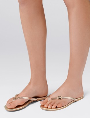 Forever New Jewelled Buckle Flip-Flops - Gold - 36
