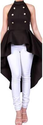 Zamtapary Women Button Down High Low Swallowtail Plus Size Party Dress XXL