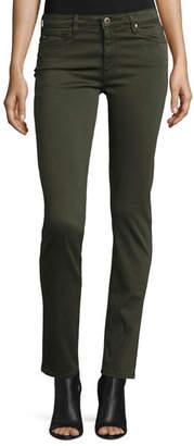 AG Jeans Prima Mid-Rise Cigarette Jeans, Dark Moss