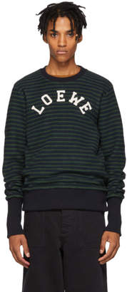Loewe Blue and Green Striped Logo Crewneck Sweater