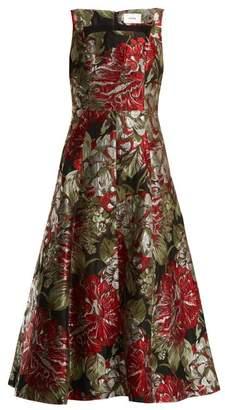 Erdem Polly Flower Jacquard Dress - Womens - Black Print