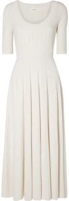 CASASOLA - Pleated Stretch-knit Midi Dress - White