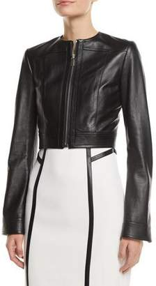 Michael Kors Zip-Front Cropped Plonge Leather Jacket