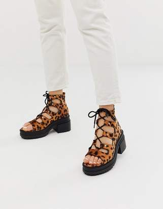 Asos Design DESIGN Sergio lace up mid heels in leopard