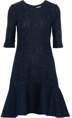 See by Chloe Fluted Twill-Paneled Crocheted Cotton-Blend Dress