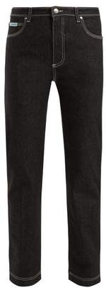 ALEXACHUNG Contrast Stitch Straight Leg Jeans - Womens - Black