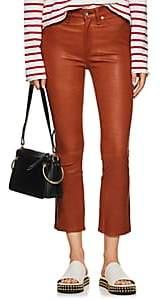 Rag & Bone Women's Hana Leather Mid-Rise Straight Jeans - Rust