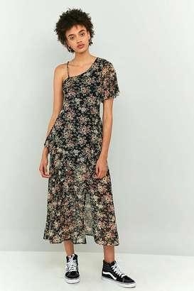 Pins & Needles Floral Mesh One-Shoulder Ruffle Midi Dress