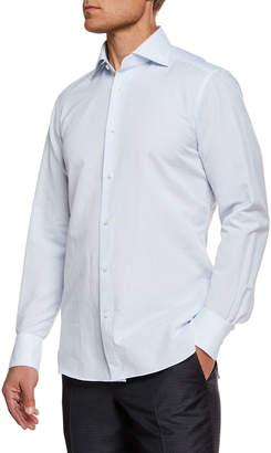 Ermenegildo Zegna Men's Cotton/Linen Micro Graph-Check Dress Shirt