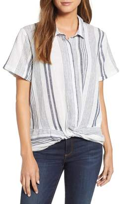 Blend of America TDC Knot Front Stripe Linen Blouse