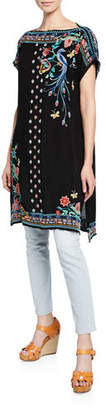 Johnny Was Dahlia Embroidered Short-Sleeve Long Tunic, Plus Size