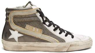 Golden Goose Slide Metallic Leather Trainers - Womens - White Silver