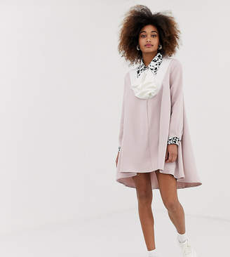 Sister Jane exclusive dipped hem smock dress with jewel buttons and dalmatian trim