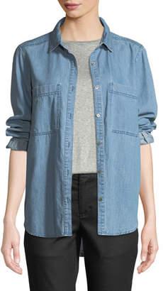 Eileen Fisher Organic Cotton Denim Pocket Shirt, Plus
