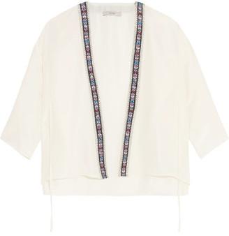 Etro - Embroidered Silk Crepe De Chine Wrap Top - White $1,270 thestylecure.com