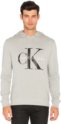 Calvin Klein Long Sleeve Logo Hoodie $80 thestylecure.com